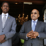 President Edgar Lungu with his South African counterpart, Mr. Jacob Zuma, after a meeting at Parliament buildings in Cape Town, South Africa on 24th February, 2015.    PICTURE BY SALIM HENRY/STATE HOUSE