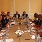 The Zambian and Indian delegations during deliberations at Taj Hotel in Cape Town on 10th February, 2015