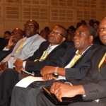 Part of the Zambian delegation listen to Commerce Minister Mrs. Margaret Mwanakatwe at the Mining Ministerial Forum. L-R: Mr. ZCCM-IH CEO Dr. Pius Kasolo, Zambia's High Commissioner to South Africa His Excellency Mr. Muyeba Chikonde, Mines expert Dr. Sixtus Mulenga and First Secretary for Economic & Trade Mr. Mande Kauseni.