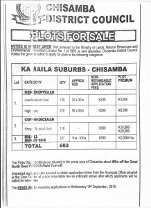 CHISAMBA LAND FOR SALE