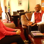 Zambia's High Commissioner to South Africa Designate, His Excellency Mr. Emmanuel Mwamba during the meeting with Energyst - Energy Rental Solutions Commercial Manager, Ms. Marissa Spencer at at the Zambian High Commission Chancery in Pretoria on 21st August, 2015
