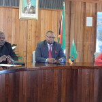 Mr. Mulusa, His Excellency Mr. Mwamba, and Deputy High Commissioner, Ms. Philomena Kachesa during the meeting on 28th September, 2015